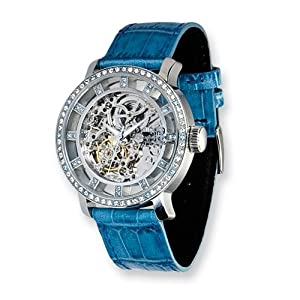Fashionista Chameleon Swarovski Bezel/blue Strap Watch by Moog Watches, Best Quality Free Gift Box Satisfaction Guaranteed