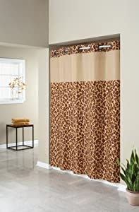 Hookless Fabric Shower Curtain with Built in Liner  - Leopard  Print