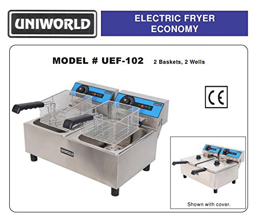 Uniworld Stainless Steel Electric Economy Fryer With ºf & ºc Adjustable Thermostat & High Limit Switch, Temperature Range: 0-395 ºf ,2X10 Liter Fat Capacity, 110V/60Hz Ce Approval Model Uef-102