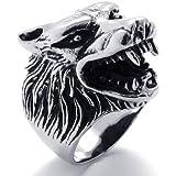 KONOV Jewelry Vintage Biker Wolf Head Stainless Steel Men's Ring