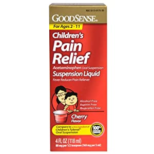 Good Sense Acetaminophen Children's Pain Reliever Oral Suspension Liquid, Cherry Flavor, 160 mg, 4 Fluid Ounce