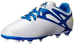 adidas Performance Messi 15.3 FG AG J Soccer Shoe (Little Kid/Big Kid), White/Prime Blue/Black, 4.5 M US Big Kid
