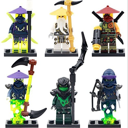 6pcs/lot Ninja Minifigures Wu/Morro/Ronin Building Blocks Figure Toy new version