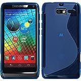 Silikon Hülle für Motorola Razr I - S-Style blau - Cover PhoneNatic Schutzhülle + Schutzfolien