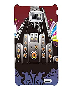 Fuson Music Speakers Back Case Cover for SAMSUNG GALAXY S2 - D3761