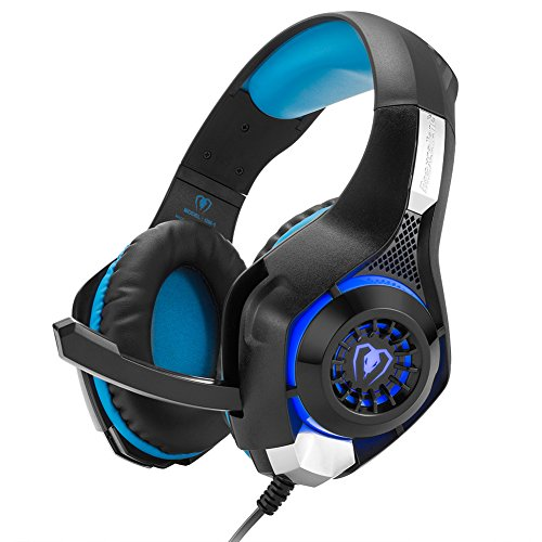 Beexcellent Gaming Headphone Stereo Gaming Headsets with Deep Bass+LED Lighting for hi-fi systems PS4,PC (Blue)