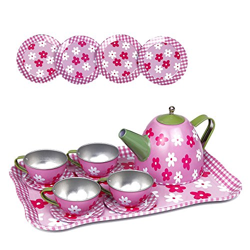 kidcia pretend play toy 14 pcs miniature tin tea set with teapot tea cups saucers plates. Black Bedroom Furniture Sets. Home Design Ideas