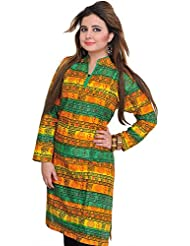 Exotic India Tri-Color Kurti With Printed Om And Ritual Motifs - Green