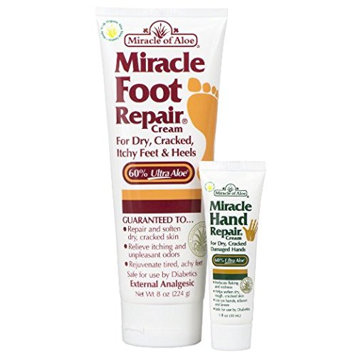 Miracle of Aloe, Miracle Foot Repair Cream 8 oz PLUS Miracle Hand Repair 1 oz with 60% Pure Organic Aloe Vera Softens Dry Cracked Feet. Quick Fast Easy Painless Penetrates Through Layers of Skin Speeds Up Cell Renewal Moisturizes Skin Guaranteed Helpful Athlete's Foot Symptoms (Miracle Hand Cream compare prices)