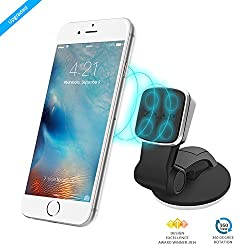 ZAAP®(USA) MAGNETIC TOUCH TWO Premium Car Mount/Desk Mount/Car mobile holder [Award winning]. Universal compatible for Smartphones with 360 degree rotation & fully adjustable view. Perfect for Car & desk Mounting. Mobile holder (Black, Car accessories)