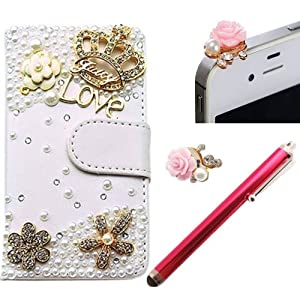 Poposh Phone Mobile Accessory 3in1 For Samsung Galaxy S5 I9600 SV 1x Folio Book Crown LOVE Diamond Pearl Rhinestone LOVE PU Leather Cover Case Skin Shell + 1x Anti Dust Plug Earphone Jack Cap + 1x Rose Stylus Touch Writting Pen - Stand Card Money Slots Artificial Synthetic Leather Purse Wallet for Girl Woman Camellia Flower