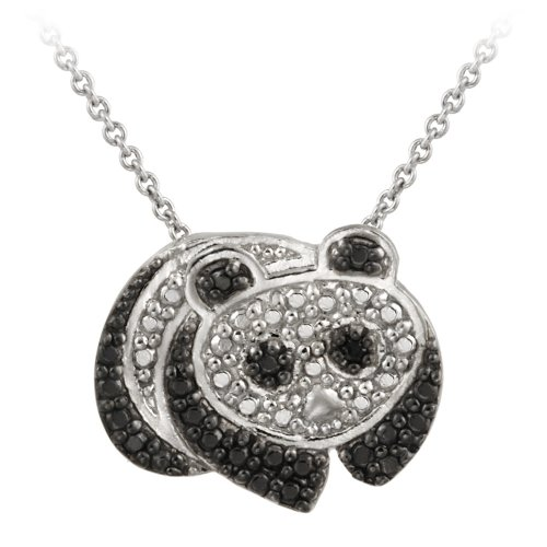 Sterling Silver Black Diamond Accent Panda Bear Pendant Necklace , 18