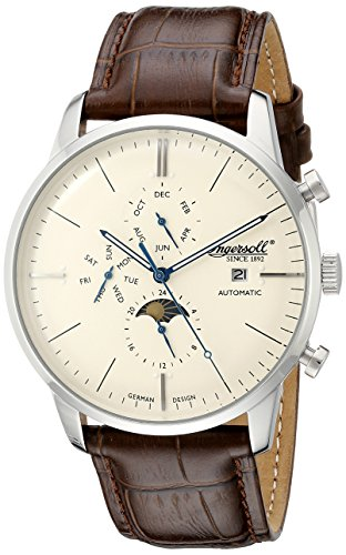 Ingersoll Unisex Automatic Watch with White Dial Analogue Display and Brown Leather Strap IN1916SCR
