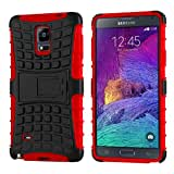 Case For Note 4, Cruzerlite Hybrid Tough Rugged Armour Defendor Kickstand Case For Samsung Galaxy Note 4 - Red