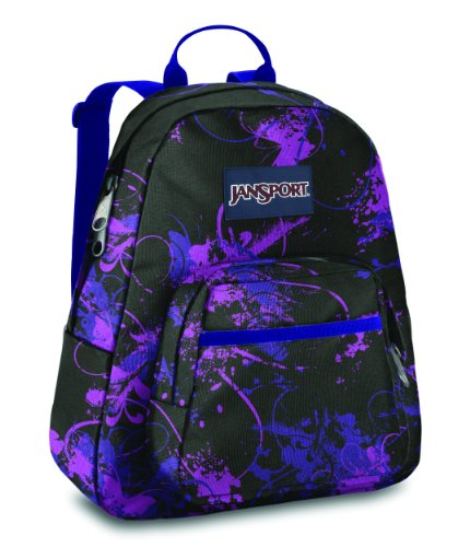 jansport half pint backpack blackelectric purple flitter