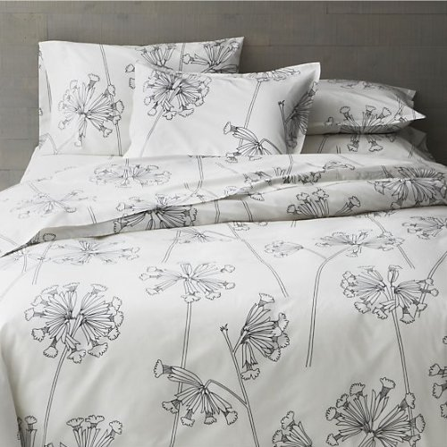 Crate & Barrel Marimekko Kevatesikko King Duvet Cover Floral Black And White