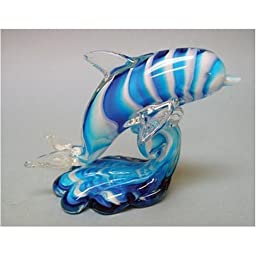 Blue / White Glass Dolphin On Wave