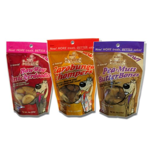 Paws Barkery Gormet All Natural Dog Treats, 1 Bag of Each Flavor, BowWow Snickerdoodles, Carobunga Chompers, and Pea-Mutt Butter Bones