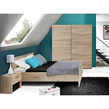CAPRICIA Chambre adulte complete style contemporain décor chene sonoma - l 140 x L 190 cm