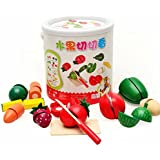 Finer Wooden Fruit Vegetable Kitchen Cutting Toy With Portable Barrel Early Education Toy For Kids