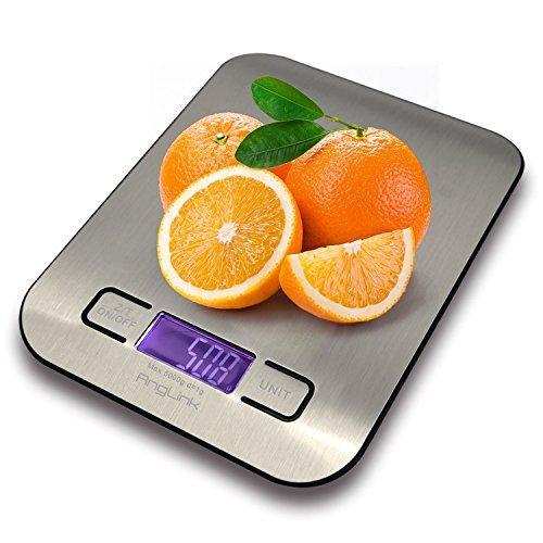 Digital Kitchen Scale, AngLink [5000g, 0.1oz/ 1g] Electronic Cooking Food Scale with LCD Display, Accurate Gram and Slim Design