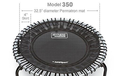 JumpSport Fitness Trampoline Model 350 - Top Rated for Quality and Durability - Quietest Bounce - Included Music 4 Workouts DVD