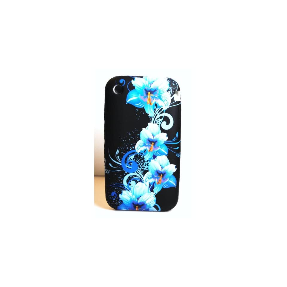 Black with Blue Flower Art Soft Silicone Skin Gel Cover Case for Apple Iphone 3G / 3Gs
