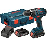 Bosch DDS181-02L 18-volt Lithium-Ion 1/2-Inch Compact Tough Drill/Driver Kit with 2 High Capacity Batteries, Charger and L-BOXX2