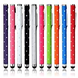 BoddBan® 2014 New Improved Universal Crystal Diamond polka dots Capacitive Stylus touch screen pen for ipad 1 2 & 3,4 ipad mini & ipad Air, iPhone 4 5 5c & 5s, HTC one, Samsung S3 S4 Note1, Note2, Note 3, Windows Surface pro, Asus, Sony Xperia, LG Optim