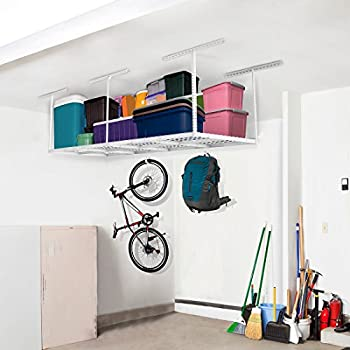 FLEXIMOUNTS 3x8 Overhead Garage Storage Rack Adjustable Ceiling Storage Rack Heavy Duty, 96