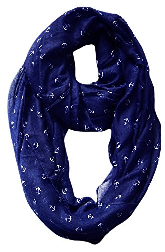 peach-couture-anchor-print-cute-trendy-all-season-infinity-loop-scarves-navy-blue