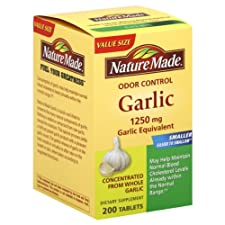 Nature Made Garlic, Odor Control, 1250 mg, Tablets, Value Size, 200 ct.