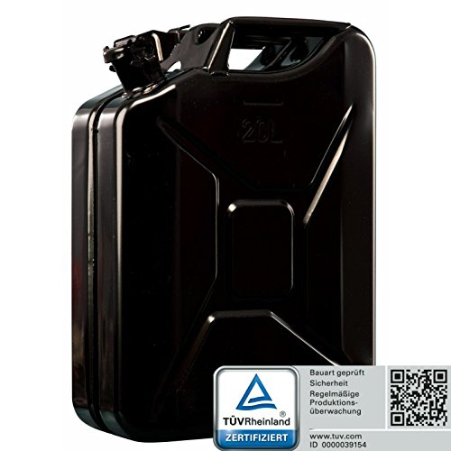 oxid7 benzinkanister kraftstoffkanister metall 20 liter schwarz mit un zu 4052704100346 oxid7. Black Bedroom Furniture Sets. Home Design Ideas