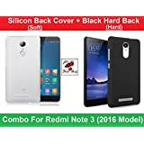 Combo Of Hard Black Back Cover + Soft Silicon Back Cover - Xiaomi Redmi Note 3 - By Shop Buzz (Hard Back Black...