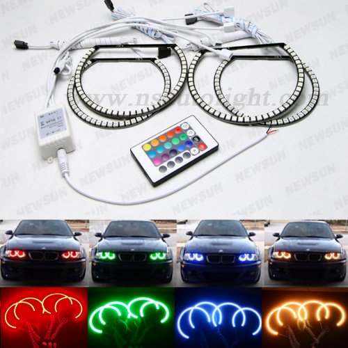 Newsun 131Mm 145Mm Rgb Color Changing Led Halo Ring Led Angel Eyes Kit Plus Remote Control For Bmw E46 Non Projector