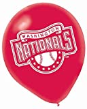 "Amscan Washington Nationals Major League Baseball Printed Latex Party Balloons, 12"", Blue/Red"