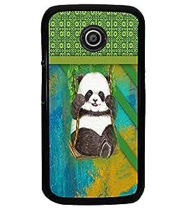 PrintDhaba Panda D-3768 Back Case Cover for MOTOROLA MOTO E (Multi-Coloured)