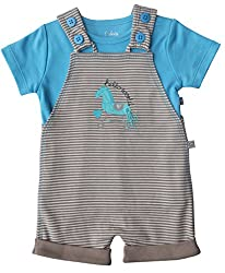 Babeez Baby Boy Short Romper with Solid T-Shirt (100% Cotton Interlock) to fit height 68 - 74 cms (9-12months)
