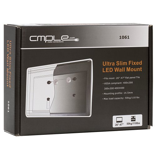 """Cmple - Ultra Slim Fixed Wall Mount For 32""""-55"""" Led, 3D Led, Lcd Tv'S"""