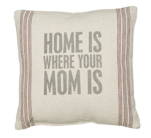 Primitives by Kathy Home Where Mom 9-Stripe Pillow, 15-Inch by 15-Inch
