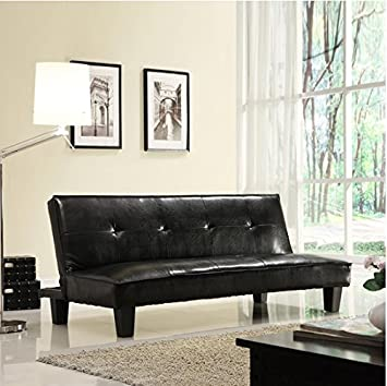 Futon Sofa Bed, Dark Brown Faux Leather
