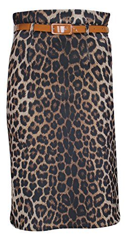 Thever Women Ladies Animal Leopard Print Bodycon Belted Midi Calf Length Skirt (UK (12-14) US (10-12), Brown)