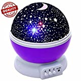 Constellation night light, Romantic Room Rotating Star Projector Lamp - 4 Bright Colours with 360 Degree Moon Star Projection and Rotation - Moon Sky Night Projector, Baby nursery light(Purple)
