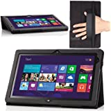 MoKo Slim Cover Case for Lenovo Thinkpad Tablet 2 10.1 Inch Windows 8 Pro tablet, BLACK (With Flip Stand, Integrated Elastic Hand Strap, Stylus Loop, and Smart Cover Auto Wake/Sleep)
