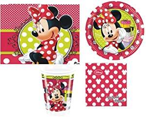 DISNEY MINNIE MOUSE RED POLKA DOT BIRTHDAY PARTY PACK FOR 16 NAPKINS PLATES CUPS TABLECOVER