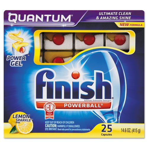 Finish Quantum Dishwasher Tabs, White, 25 Count front-568714