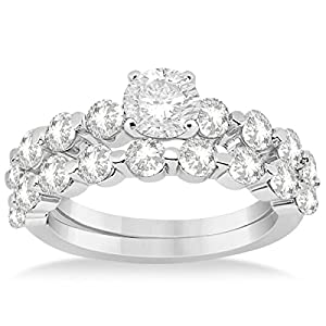 Allurez Side Stone Accented Diamond Engagement Ring and Wedding Band Bridal Set in Platinum (1.70ct) 11.75
