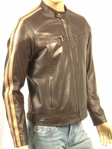 DAKAR - Mens Leather Jacket - Brown with Beige Stripes - L / 42