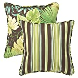 Pillow Perfect Decorative Green/Brown Tropical/Striped Reversible Toss Pillows, Square, 18-1/2 Length, 2-Pack
