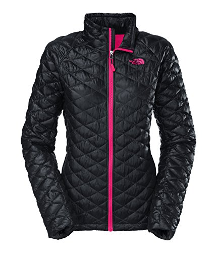 Women's The North Face ThermoBall Full Zip Jacket Black/Cerise Pink Size X-Large